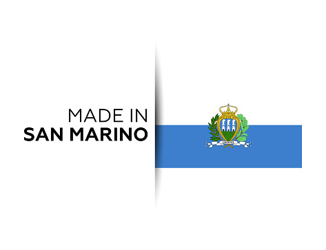 Made in the San Marino label, product emblem. White isolated background