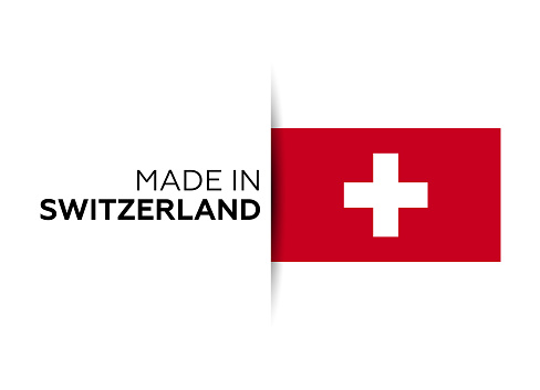 Made in the Switzerland label, product emblem. White isolated background