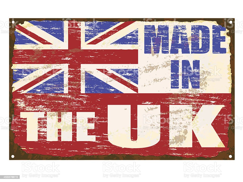Made In The UK Enamel Sign royalty-free made in the uk enamel sign stock vector art & more images of awe