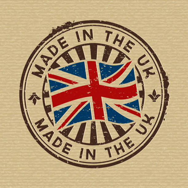 made in the uk. stamp on wooden background - культура великобритании stock illustrations