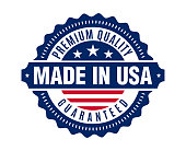 Made in the United States of America with USA flag