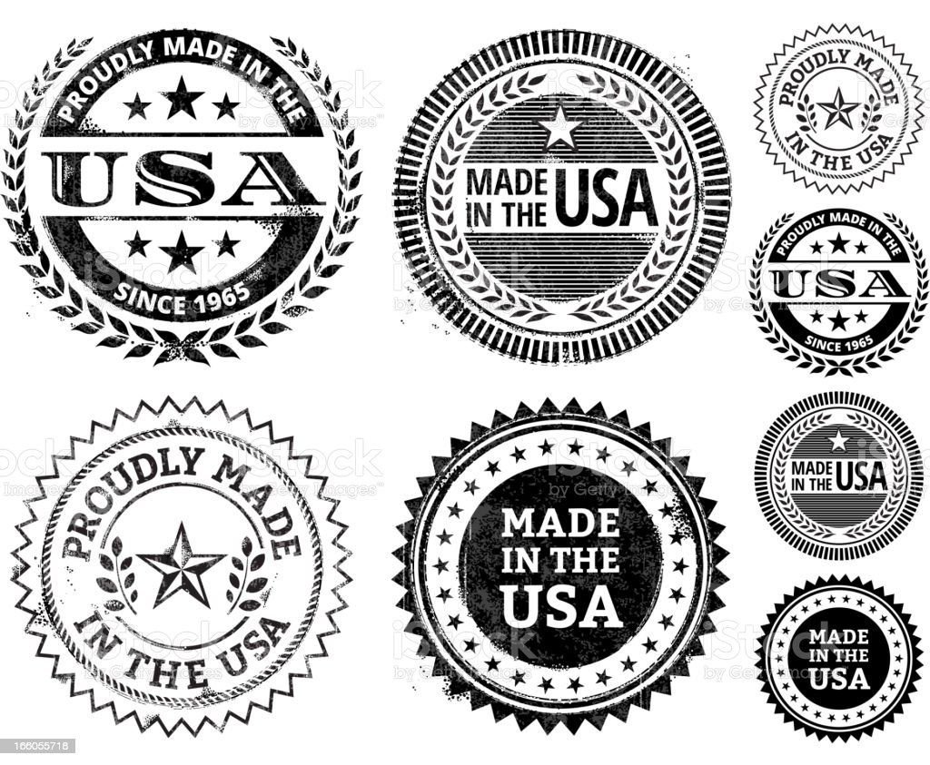 Made in the USA Black and White Grunge Collection royalty-free stock vector art