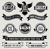 Made in the USA Black & White patriotic buttons set