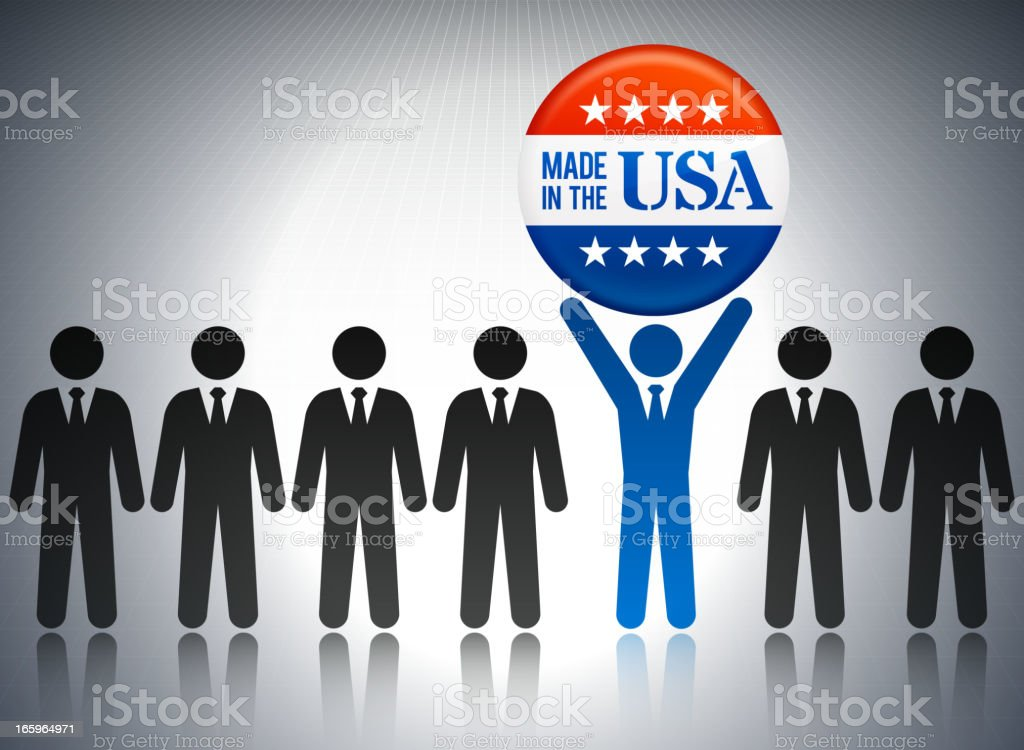 Made in the USA Business Concept Stick Figures royalty-free stock vector art