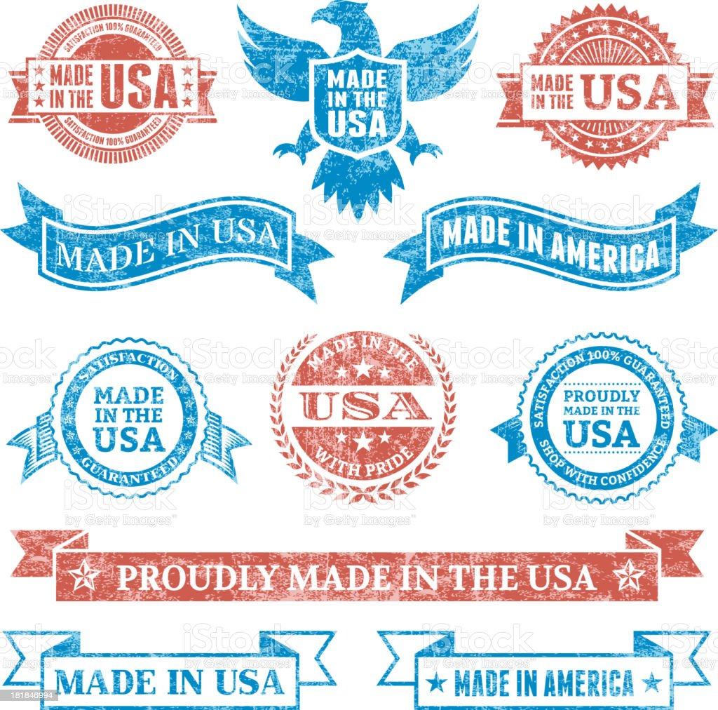 Made in the USA Grunge patriotic buttons set royalty-free stock vector art