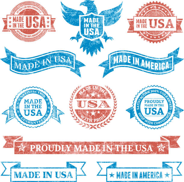 Made in the USA Grunge patriotic buttons set Made in the USA Grunge patriotic buttons set distressed american flag stock illustrations