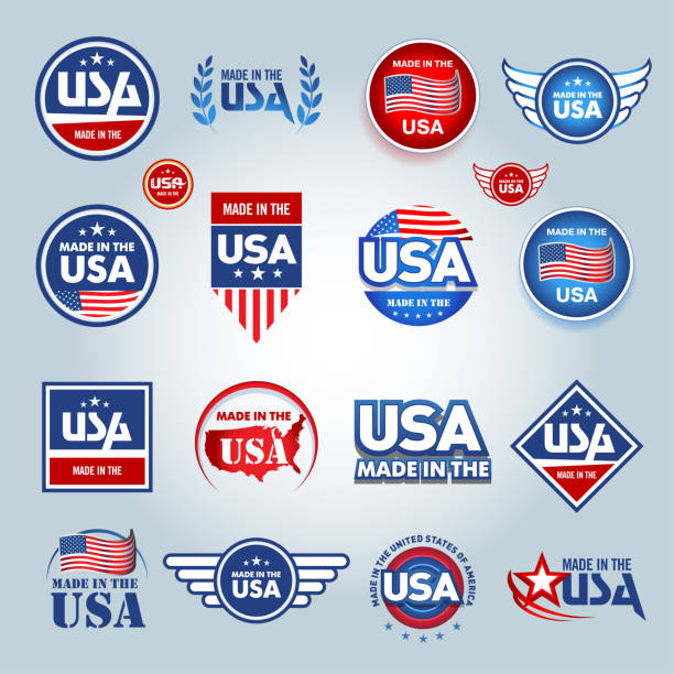 made in the usa icons. american made emblems. - wykonać stock illustrations