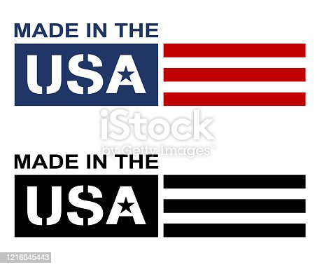 istock Made in the USA Label Logo Isolated Vector Illustration 1216645443