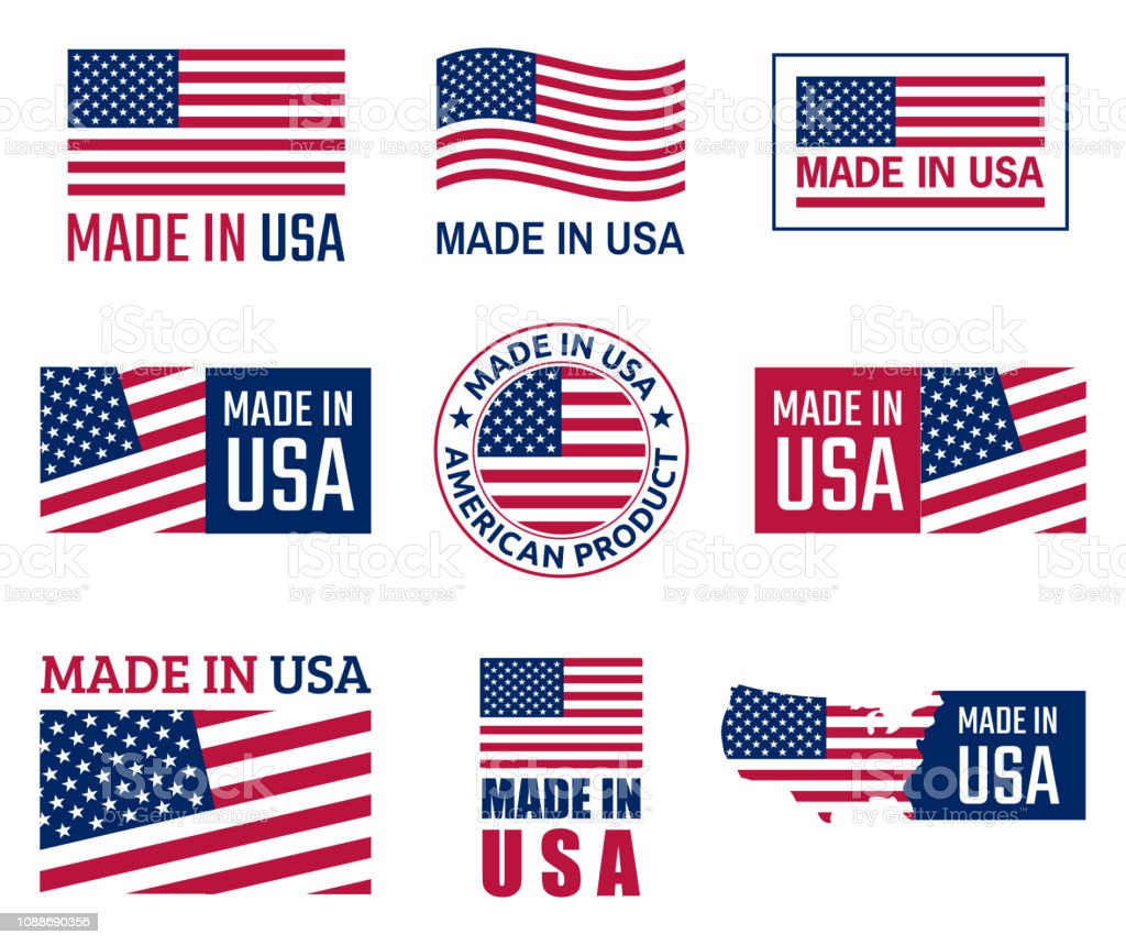 made in the usa labels set, american product emblem royalty-free made in the usa labels set american product emblem stock illustration - download image now