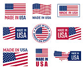 made in usa icon set, american product labels