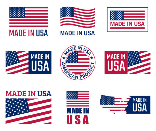 made in usa aufkleber set, amerikanisches produkt emblem - usa stock-grafiken, -clipart, -cartoons und -symbole