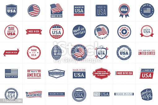 Collection of 35 red and blue made in the USA labels. Vector format.