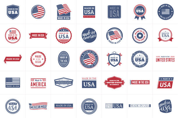 made in the usa labels - wykonać stock illustrations