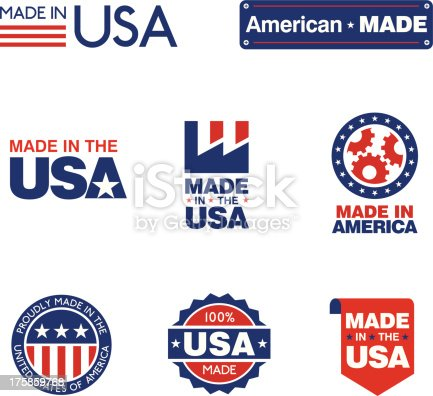 8 clean simple red white and blue labels to show US origin of products.