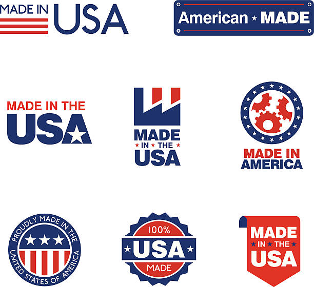 Made in the USA Labels 8 clean simple red white and blue labels to show US origin of products. making stock illustrations