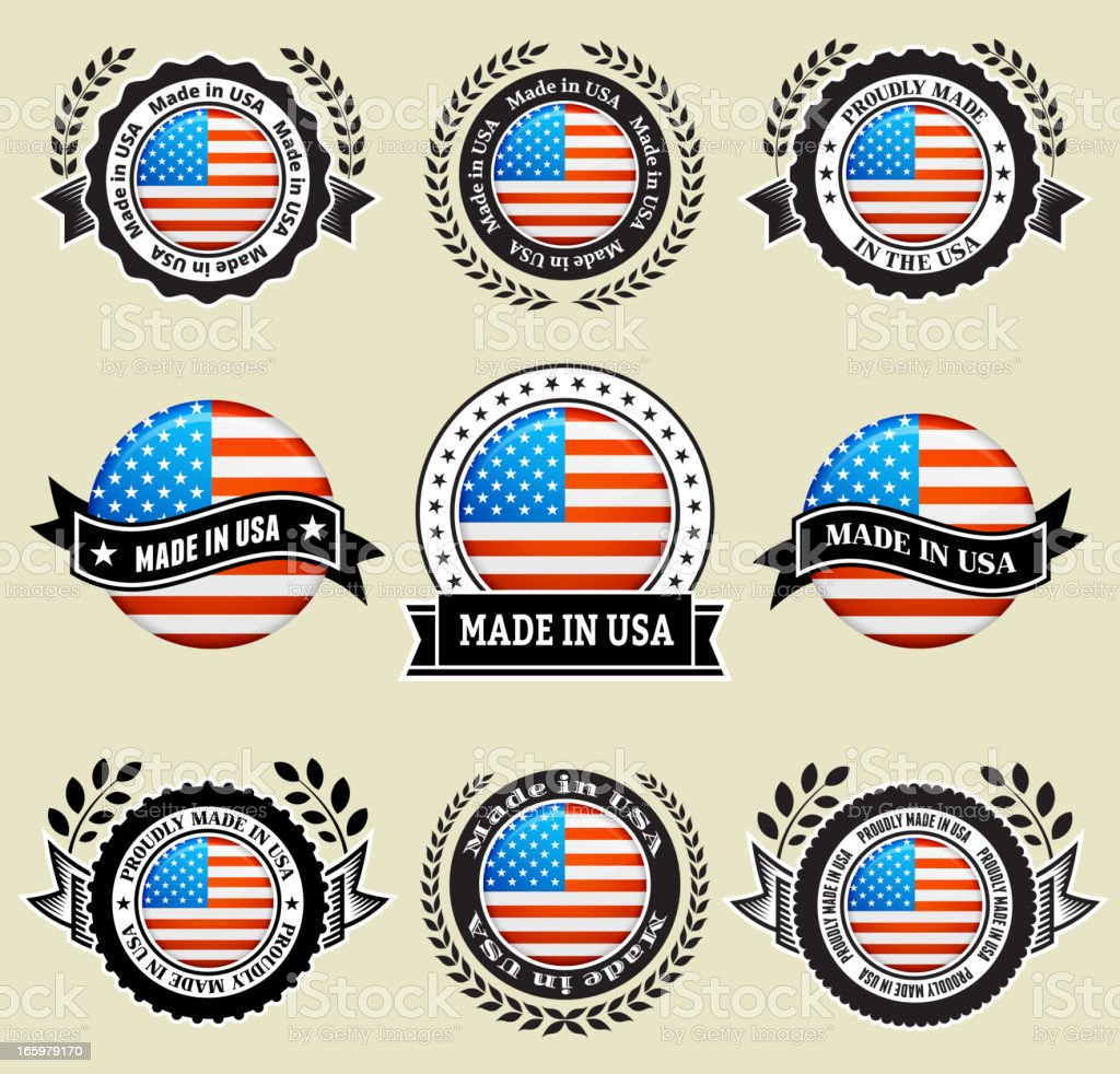 Made in the USA patriotic Badge vector icon set royalty-free stock vector art