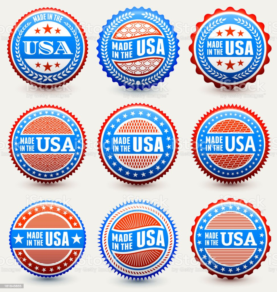 Made in the USA patriotic buttons set royalty-free made in the usa patriotic buttons set stock vector art & more images of american culture