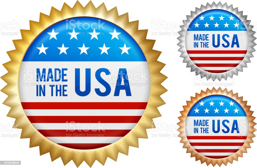 Made in the USA patriotic buttons set royalty-free stock vector art