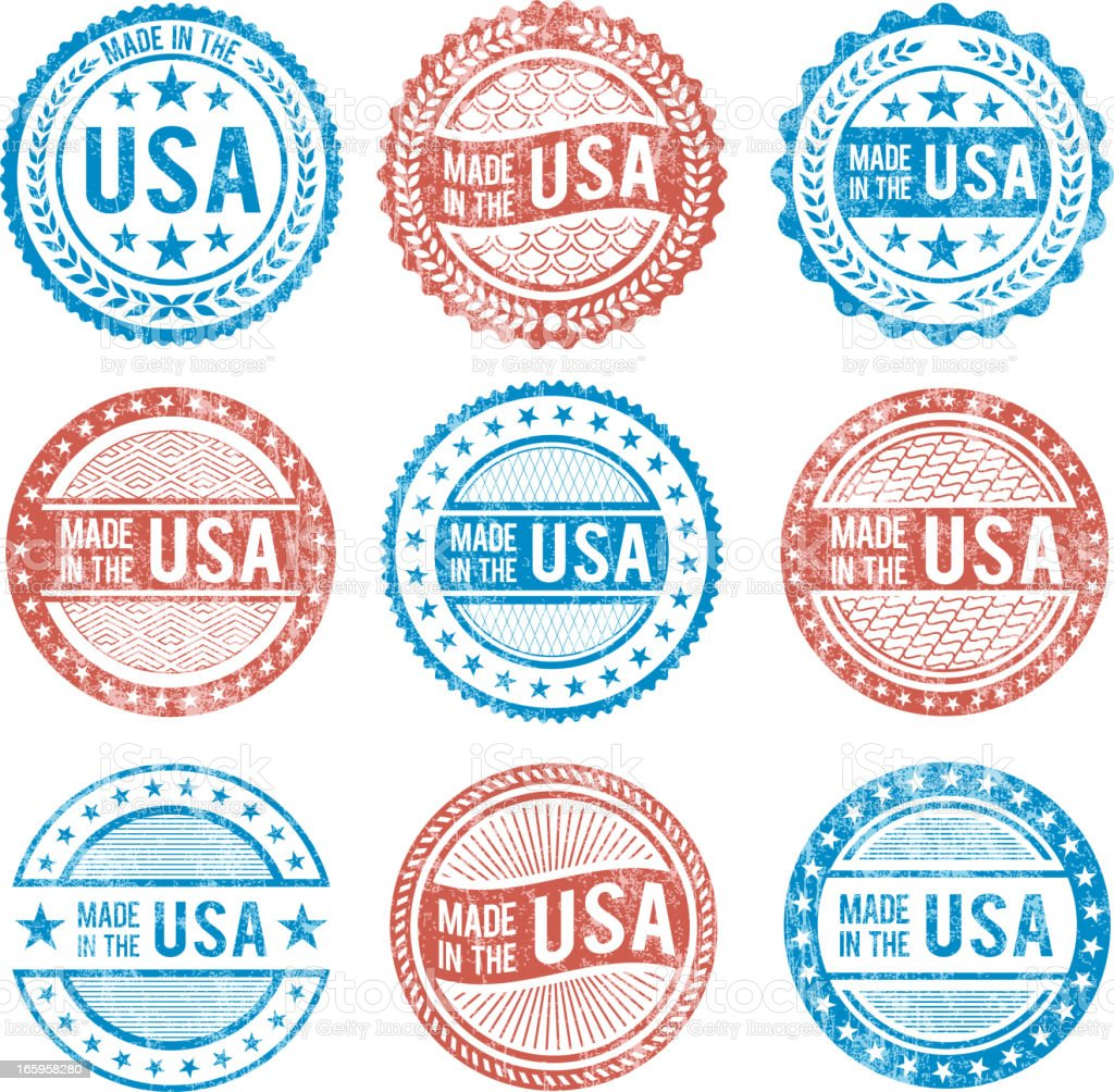 Made in the USA patriotic Grunge vector icon set royalty-free stock vector art