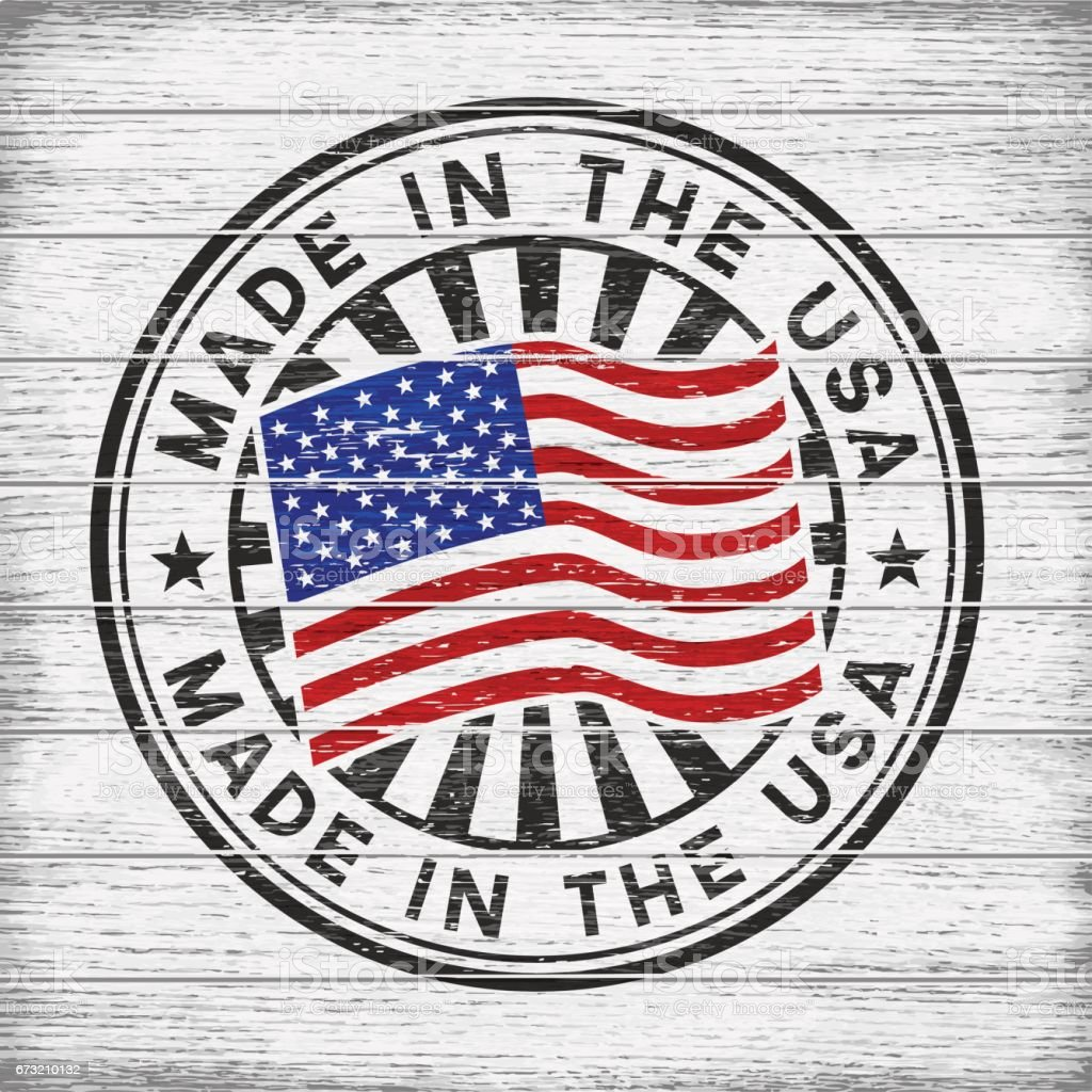 Made in the USA. Stamp on wooden background vector art illustration