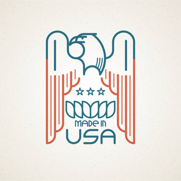 Royalty Free Made In The Usa Symbol With American Flag And Eagle