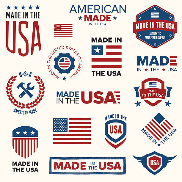 Made in the USA Set of various Made in the USA graphics and labels. making stock illustrations