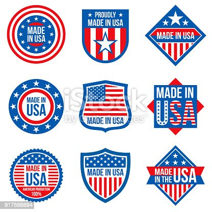 Made In The Usa Vector Labels American Manufacturing Stickers Stock