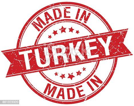 made in Turkey red round vintage stamp
