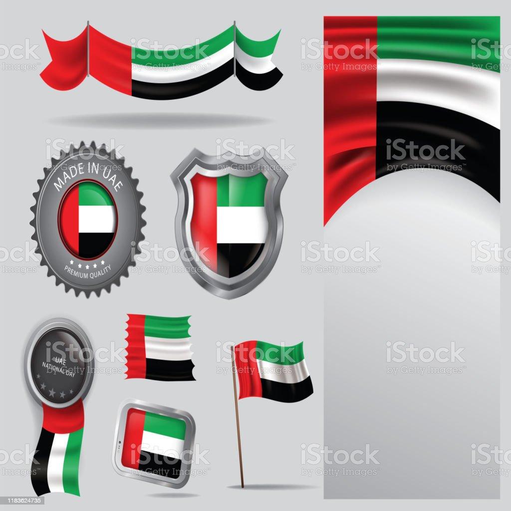 阿聯酋印章,阿拉伯聯合大公國國旗和顏色 - Vector藝術- - 免版稅做圖庫向量圖形