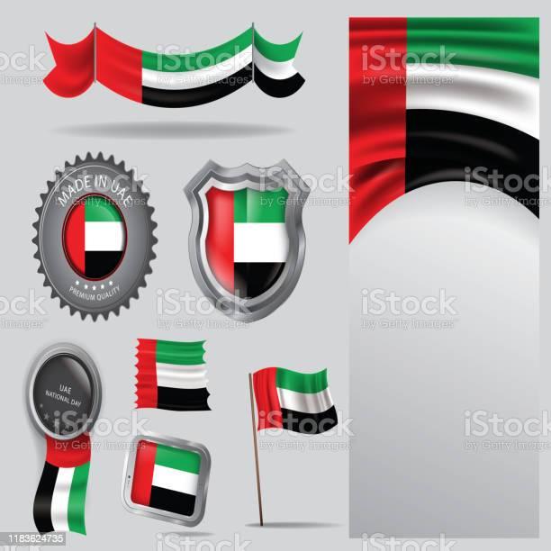 阿聯酋印章阿拉伯聯合大公國國旗和顏色 Vector藝術向量圖形及更多做圖片