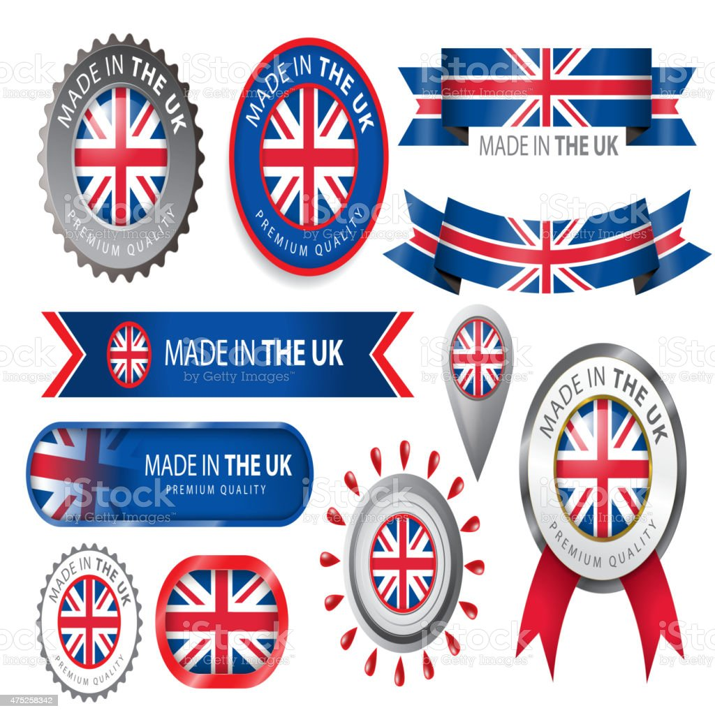 Made in UK Seal, UK Flag (Vector Art) vector art illustration
