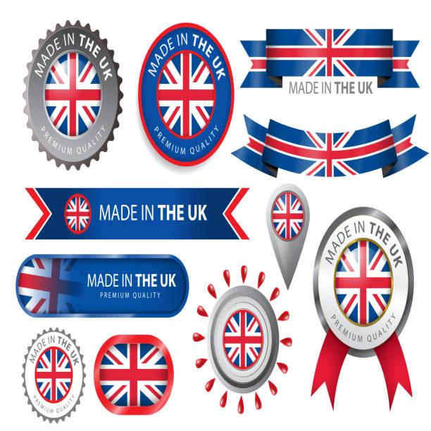 illustrations, cliparts, dessins animés et icônes de fabriqué au royaume-uni, seal, d'un drapeau du royaume-uni (vectoriels) - drapeau du royaume uni