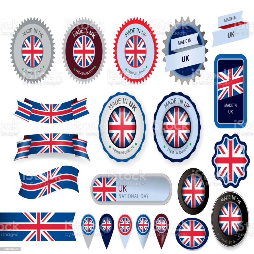 Feitas no Reino Unido, selo e bandeira do Reino Unido (vetores - ilustração de arte em vetor