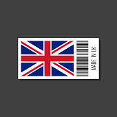 made in uk, vector sticker with bar code and british flag