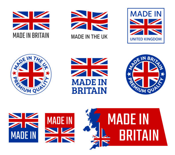 made in united kingdom, great britain product emblem - zjednoczone królestwo stock illustrations