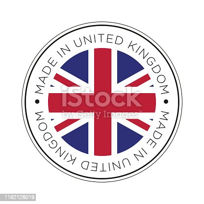 Round icon with flag of United Kingdom.