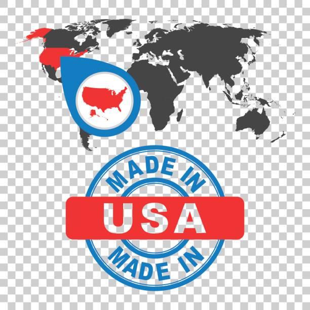 Feita nos EUA, selo de América. Mapa mundial com país vermelho. Vector brasão de armas em estilo simples em fundo isolado. - ilustração de arte em vetor