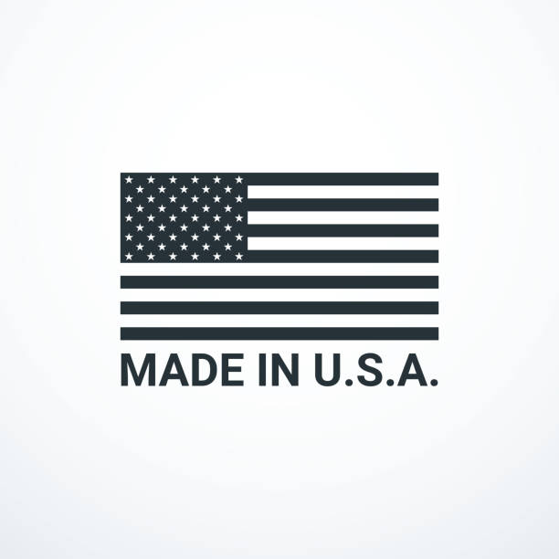 made in usa badge with usa flag elements. vector illustration - wykonać stock illustrations