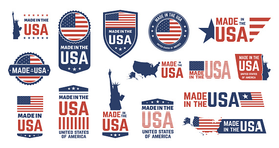 Made in USA badges. Patriot proud label stamp, American flag and national symbols, united states of America patriotic emblems vector icon set