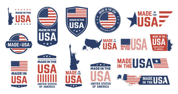 Made in USA badges. Patriot proud label stamp, American flag and national symbols, united states of America patriotic emblems vector icon set Made in USA badges. Patriot proud label stamp, American flag and national symbols, United States of America patriotic emblems vector set. US product stickers, national independence day 4th july badges independence day illustrations stock illustrations