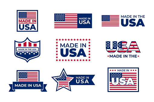 Made in USA badges set