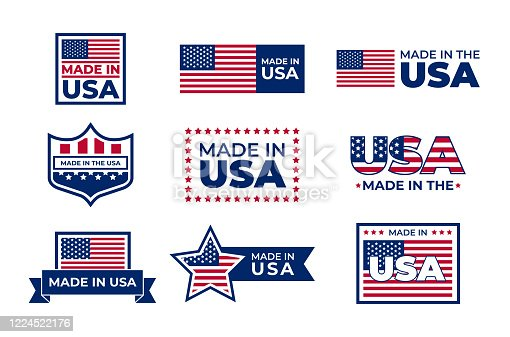 Made in USA badges set. American patriotic logos, stamps and seals with national flags. Vector illustration for America, business, manufacture concept