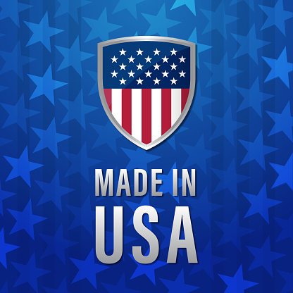 Made in USA banner with American Flag background
