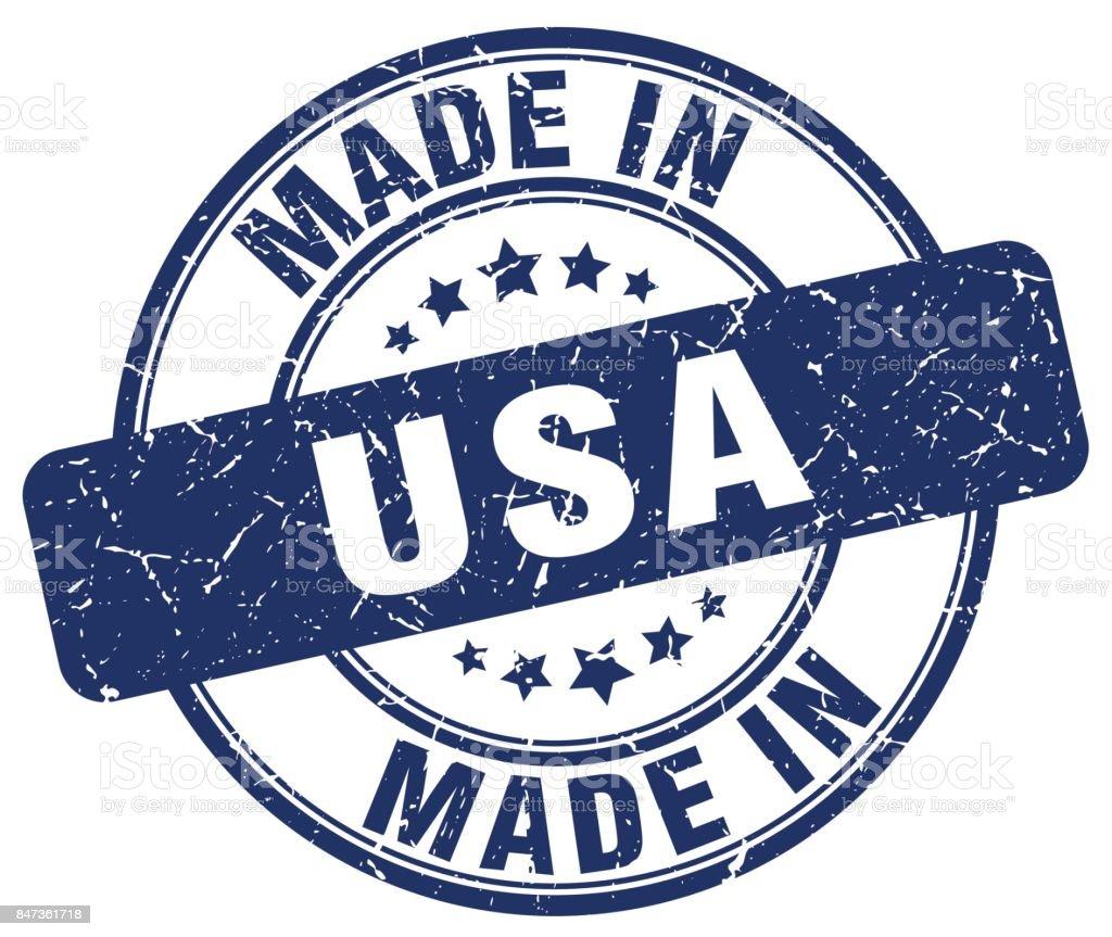 feita em grunge EUA azul redondo carimbo - ilustração de arte em vetor