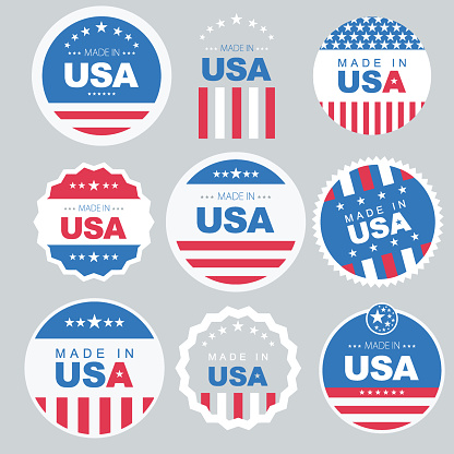 Made in USA Button with American Flag background