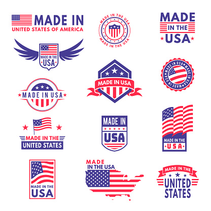 Made in usa. Flag made america american states flags product badge quality patriotic labels emblem star ribbon sticker, vector set