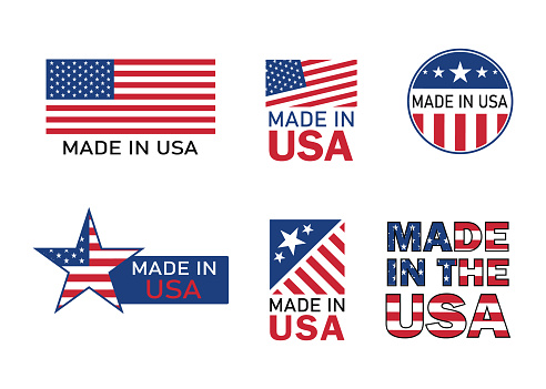 Made in usa icon for product. American flag emblem for guarantee label. Manufacturing in america sign with stars and red stripes. Best quality badge for design product. Proudly banner. vector
