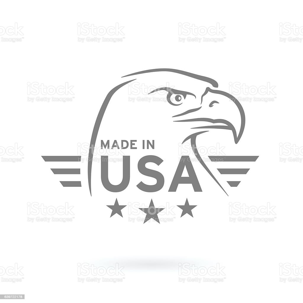 Made in USA icon with American Eagle emblem. Vector illustration. vector art illustration