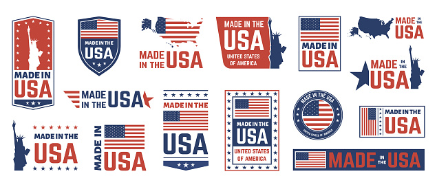 Made in USA label. American flag emblem, patriot proud nation labels icon and united states label stamps vector isolated symbols set