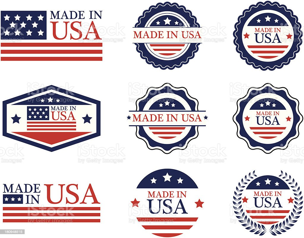 Made in USA labels - VECTOR vector art illustration